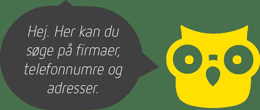 En gul ugle med en taleboble med teksten: Hej. Her kan du søge på firmaer, telefonnumre og adresser.
