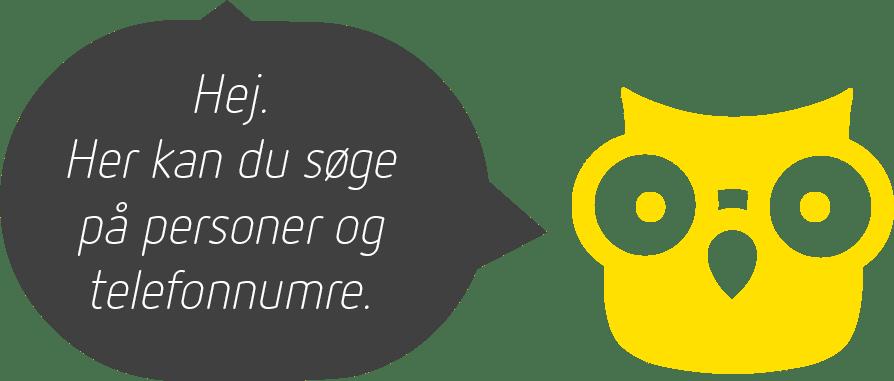 En gul ugle med en taleboble med teksten: Hej. Her kan du søge på personer og telefonnumre.