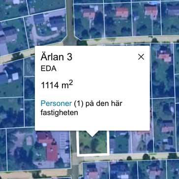 Information för en fastighet på en tomtgräns