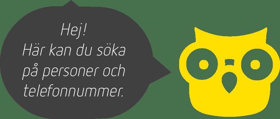 En gul uggla med pratbubbla och texten: Hej! Här kan du söka på personer och telefonnummer.